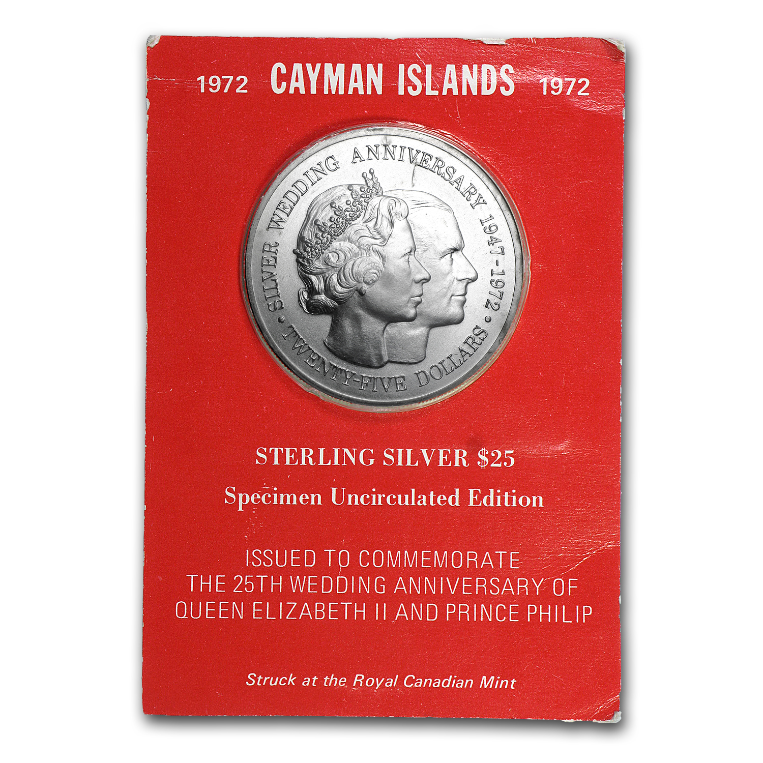 Cayman Islands 1972 25 Dollar Silver Uncirculated