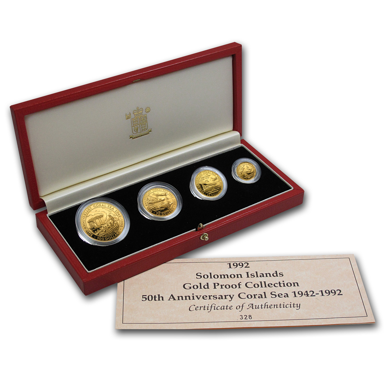 Solomon Islands 1991-1995 4-Piece Proof Gold Set WWII Battles