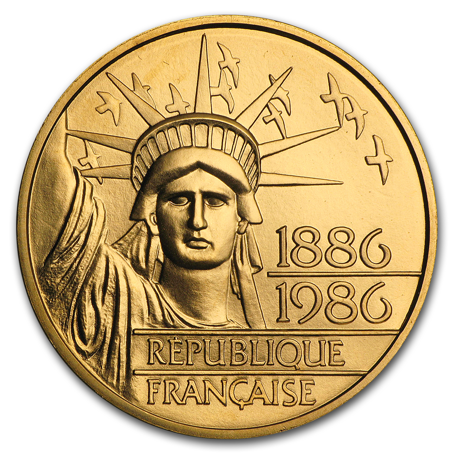 1986 France Gold 100 Francs Statue of Liberty BU