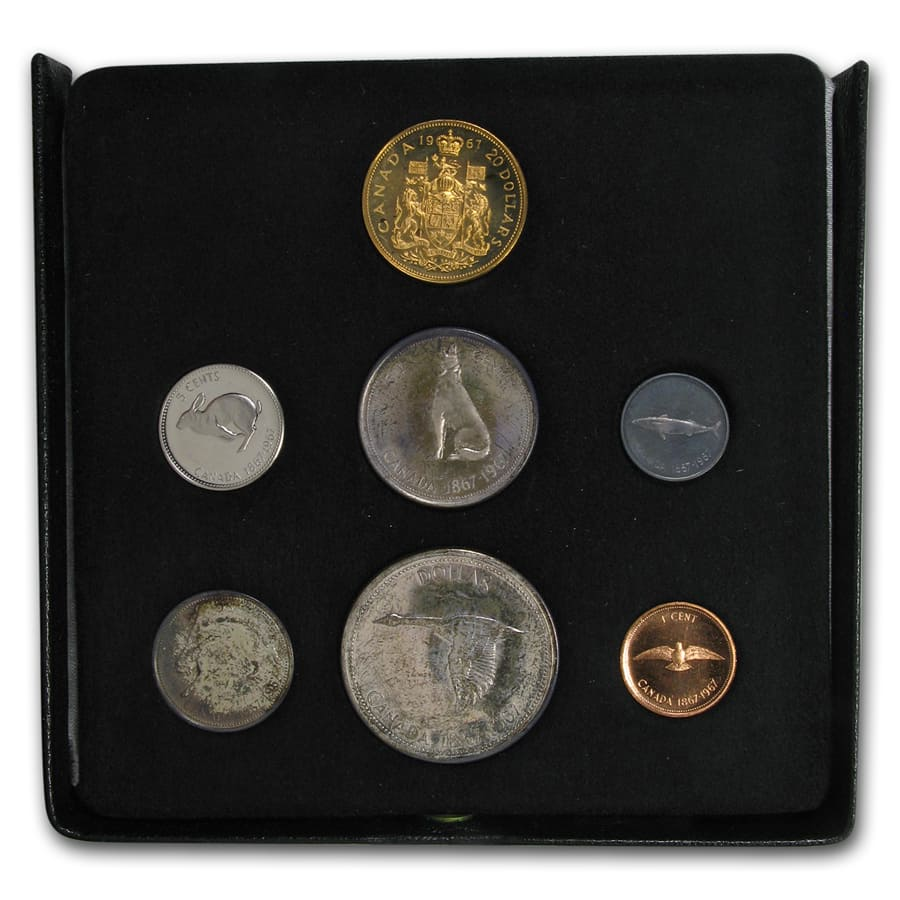 1967 Canada 7-Coin Centennial Proof Set w/$20 Gold