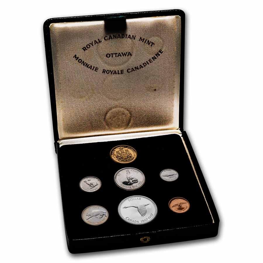 1967 Canada 7 Coin Centennial Proof Set W 20 Gold Rcm