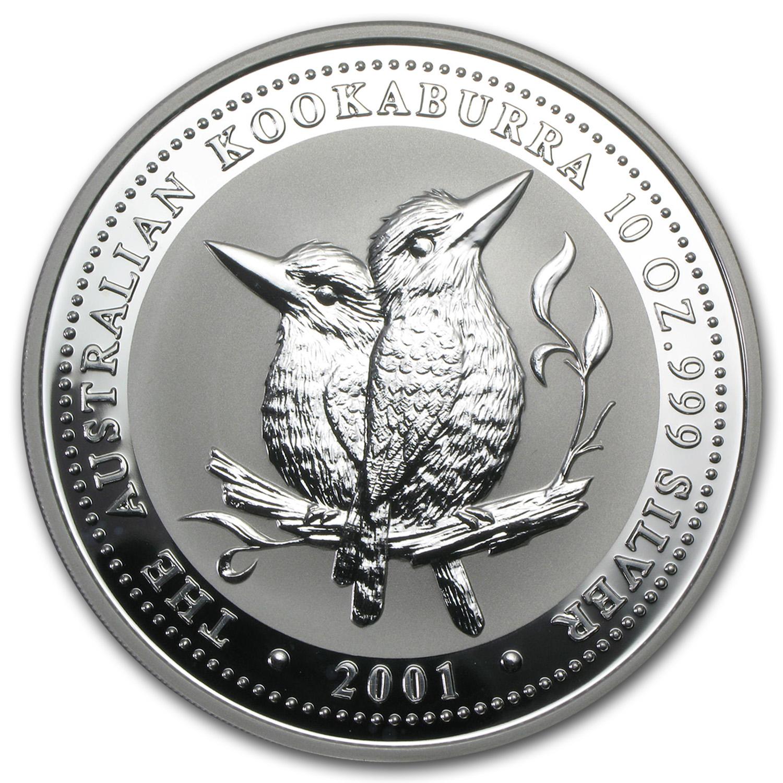 2001 Australia 10 Oz Silver Kookaburra Bu Value Of Silver