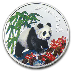 1997 China 1/2 oz Silver Panda (Colorized)