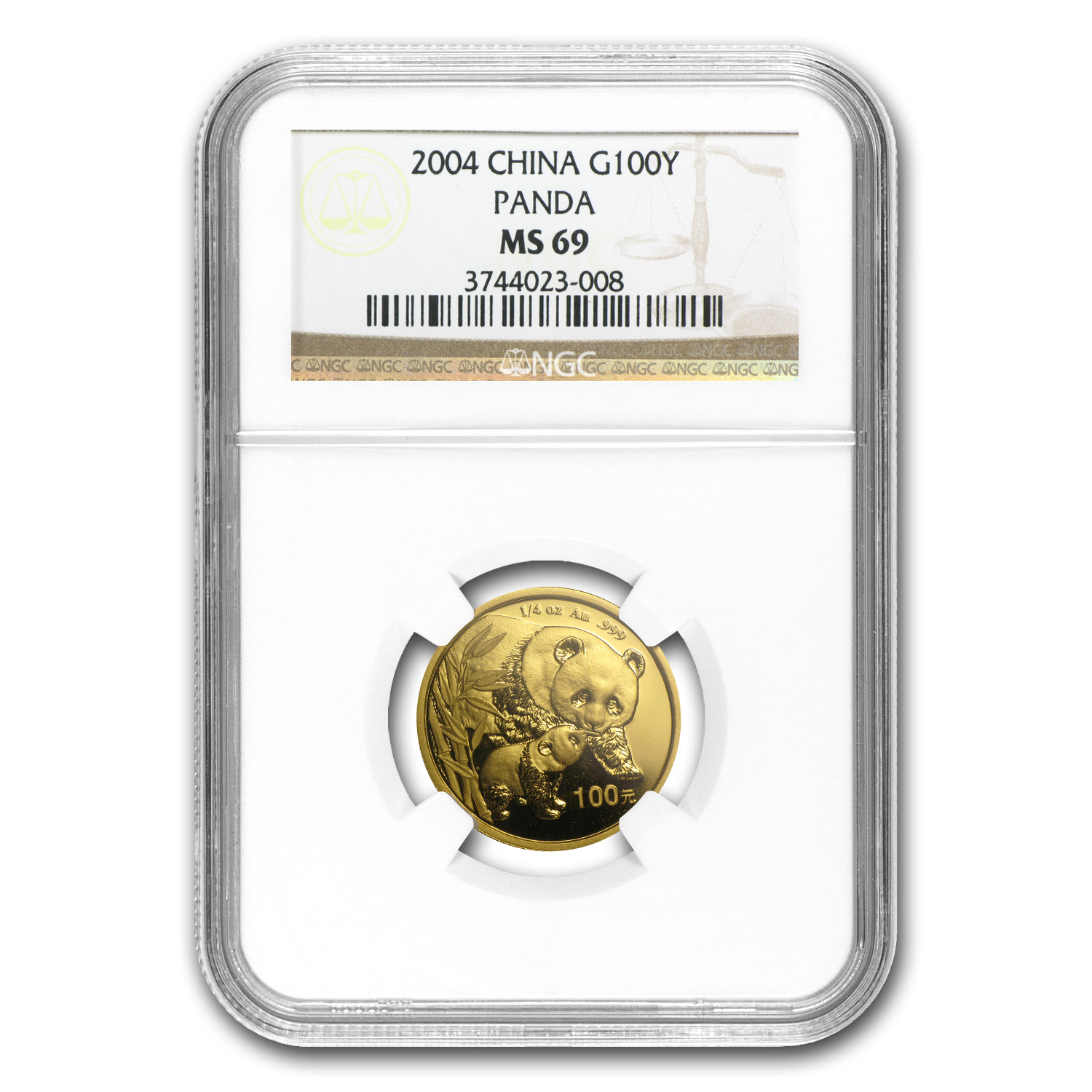 2004 China 1/4 oz Gold Panda MS-69 NGC