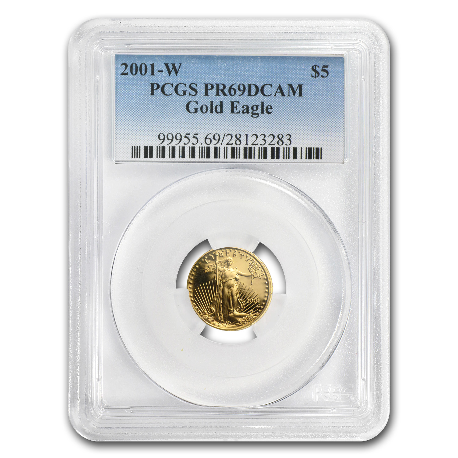 2001-W 1/10 oz Proof Gold American Eagle PR-69 PCGS