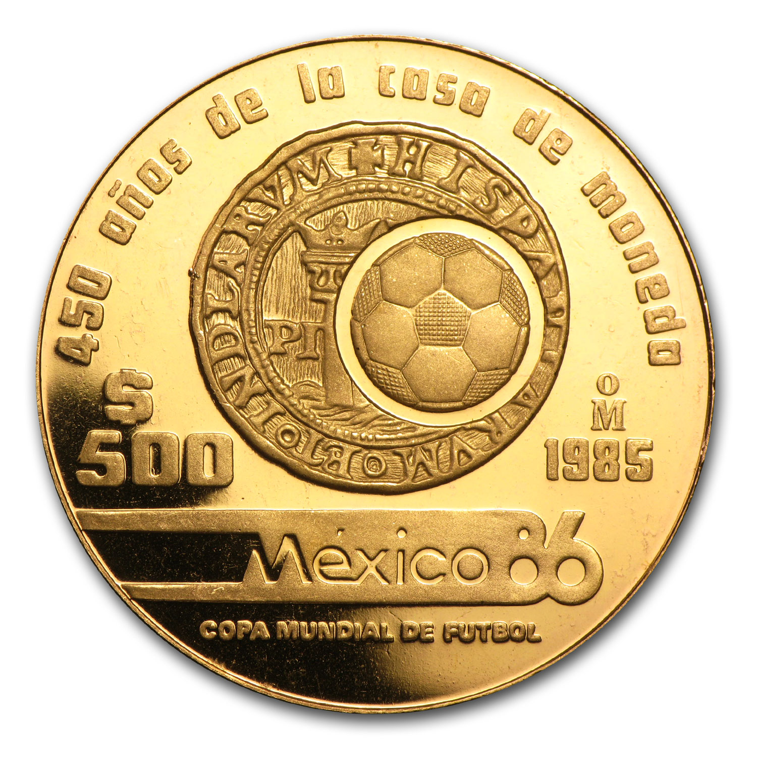 1985 or 1986 Mexico Gold 500 Pesos Proof