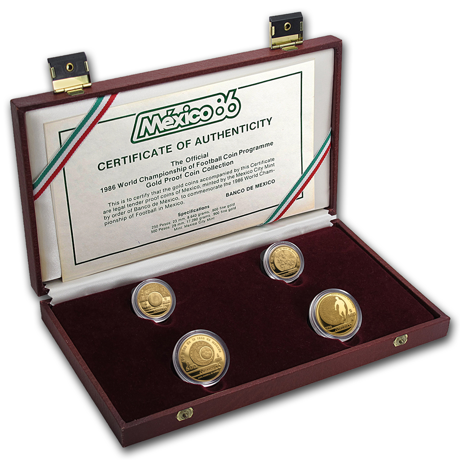 1986 Mexico 4-Coin World Cup Soccer Commemorative Proof Set