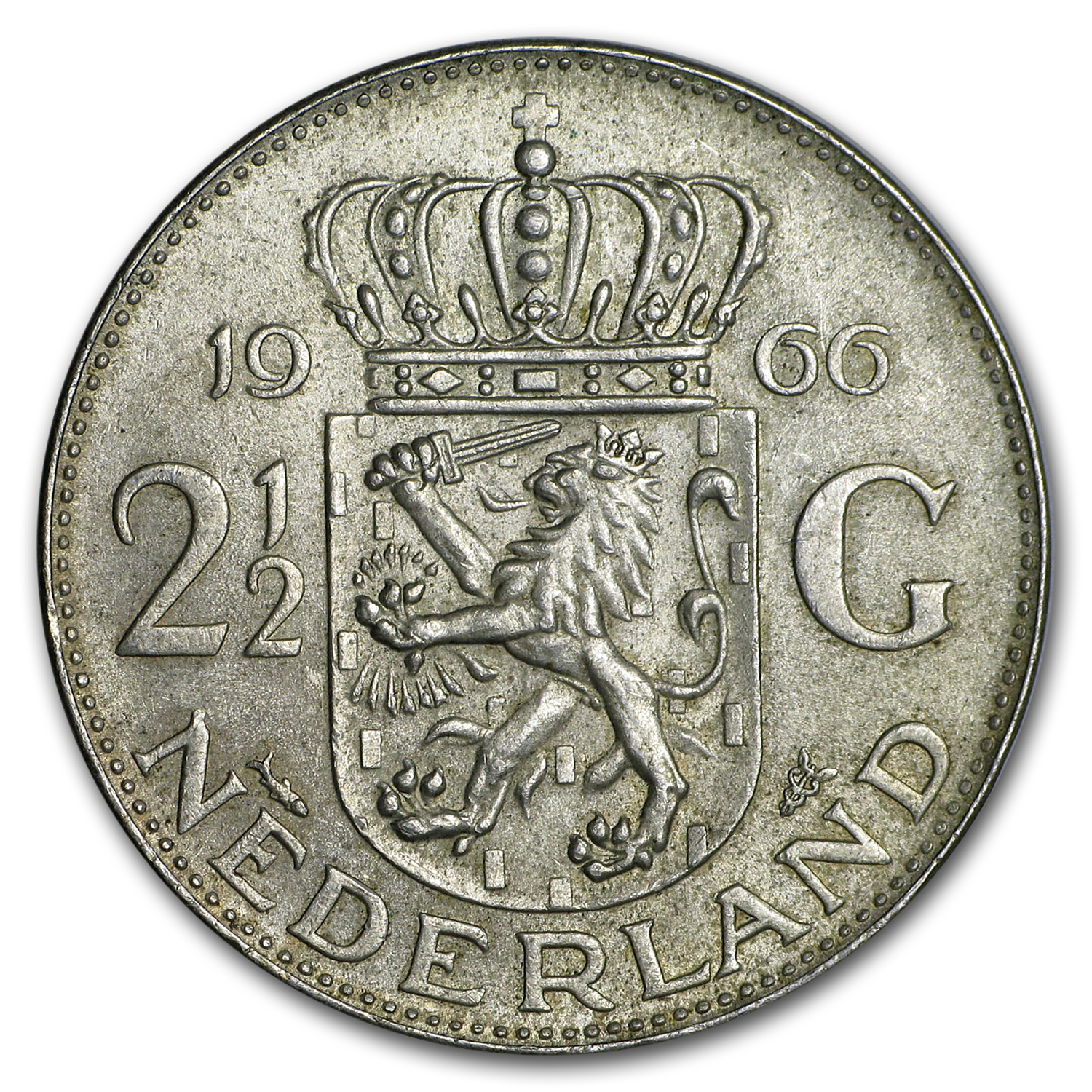 Netherlands Silver 2 1/2 Gulden Average Circ (ASW .3472)