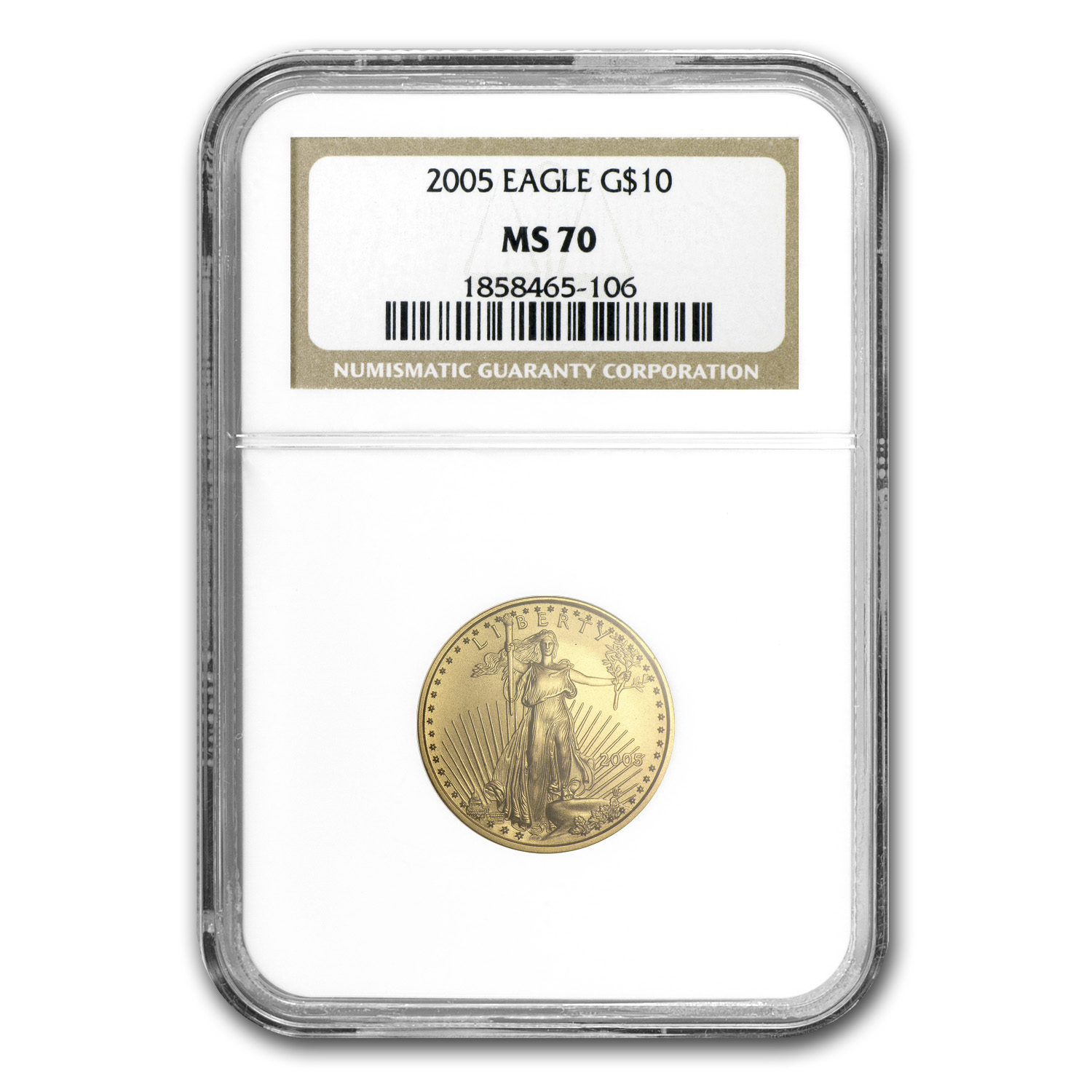 2005 1/4 oz Gold American Eagle MS-70 NGC