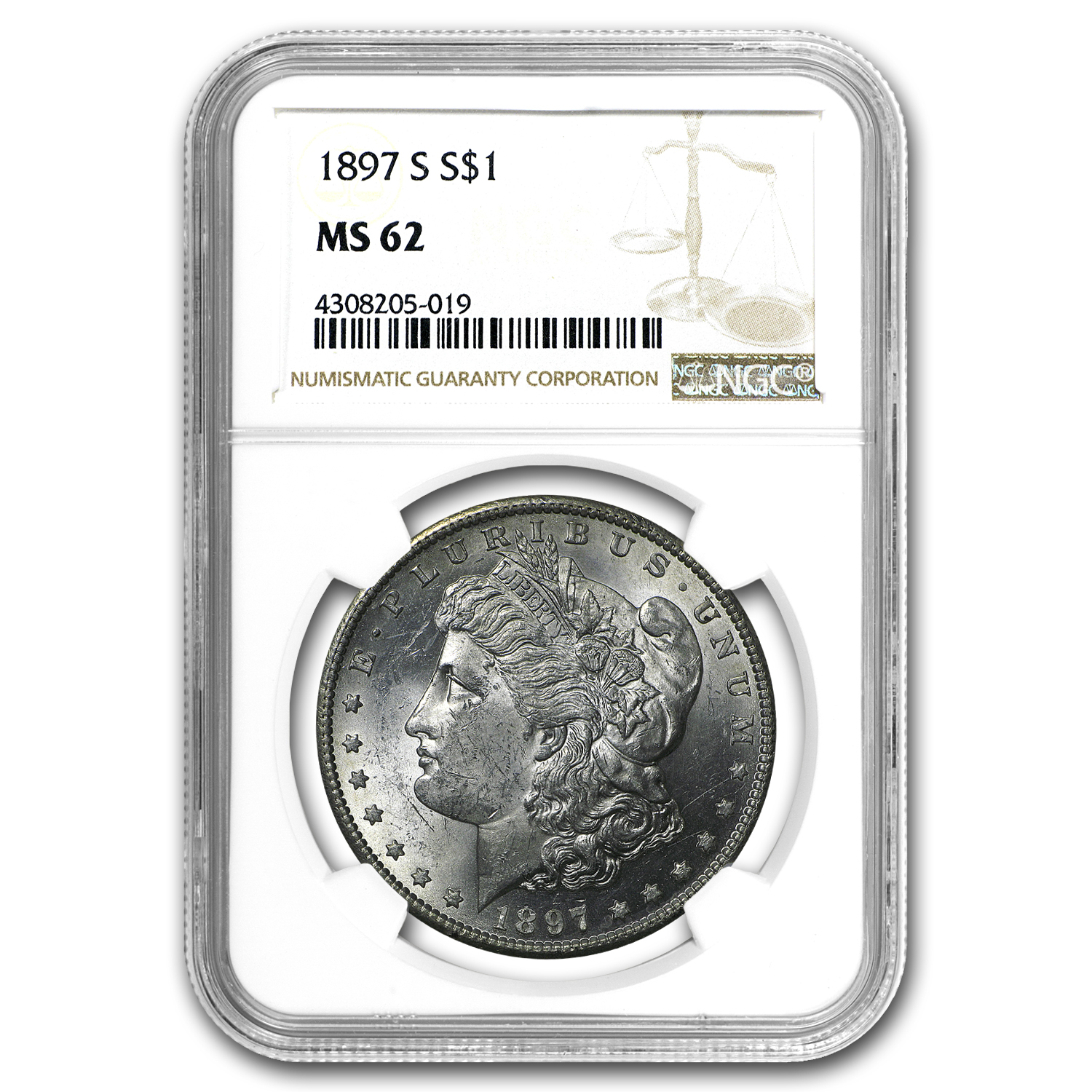 1897-S Morgan Dollar MS-62 NGC