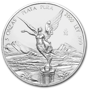 2002 5 oz Silver Mexican Libertad (Brilliant Uncirculated)