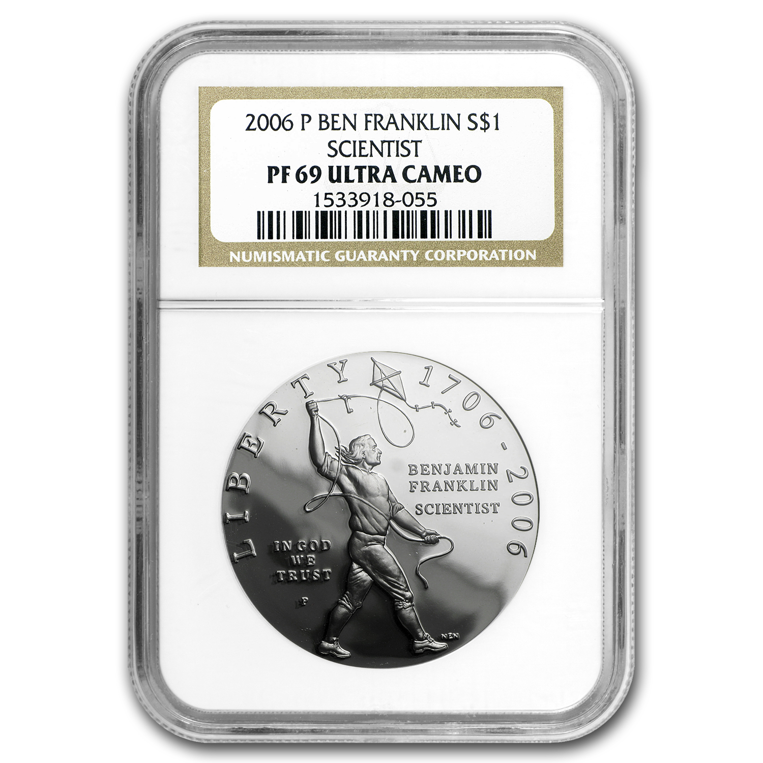 2006-P Ben Franklin Scientist $1 Silver Commem PF-69 UCAM NGC