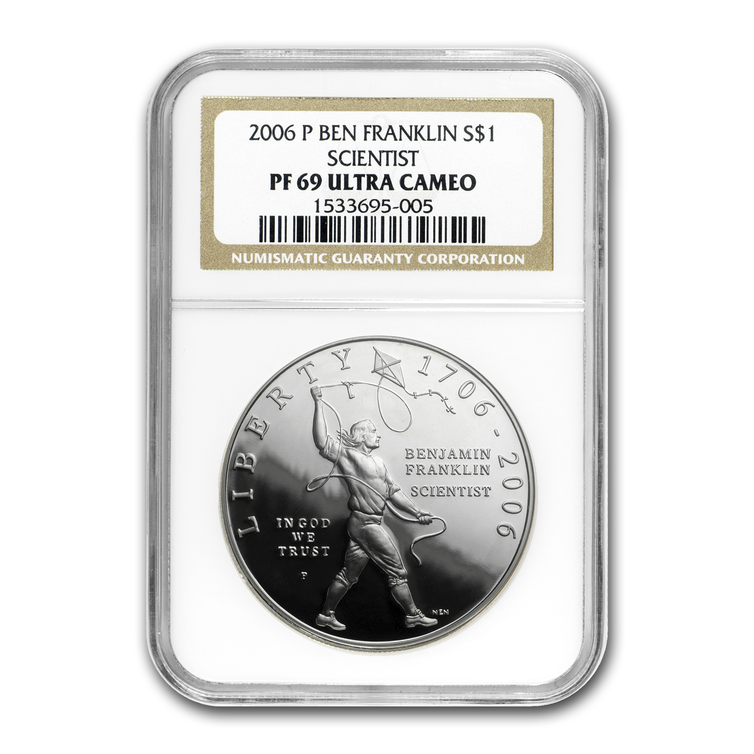 2006-P B.Franklin Founding Father $1 Silver Commem PF-69 UCAM NGC