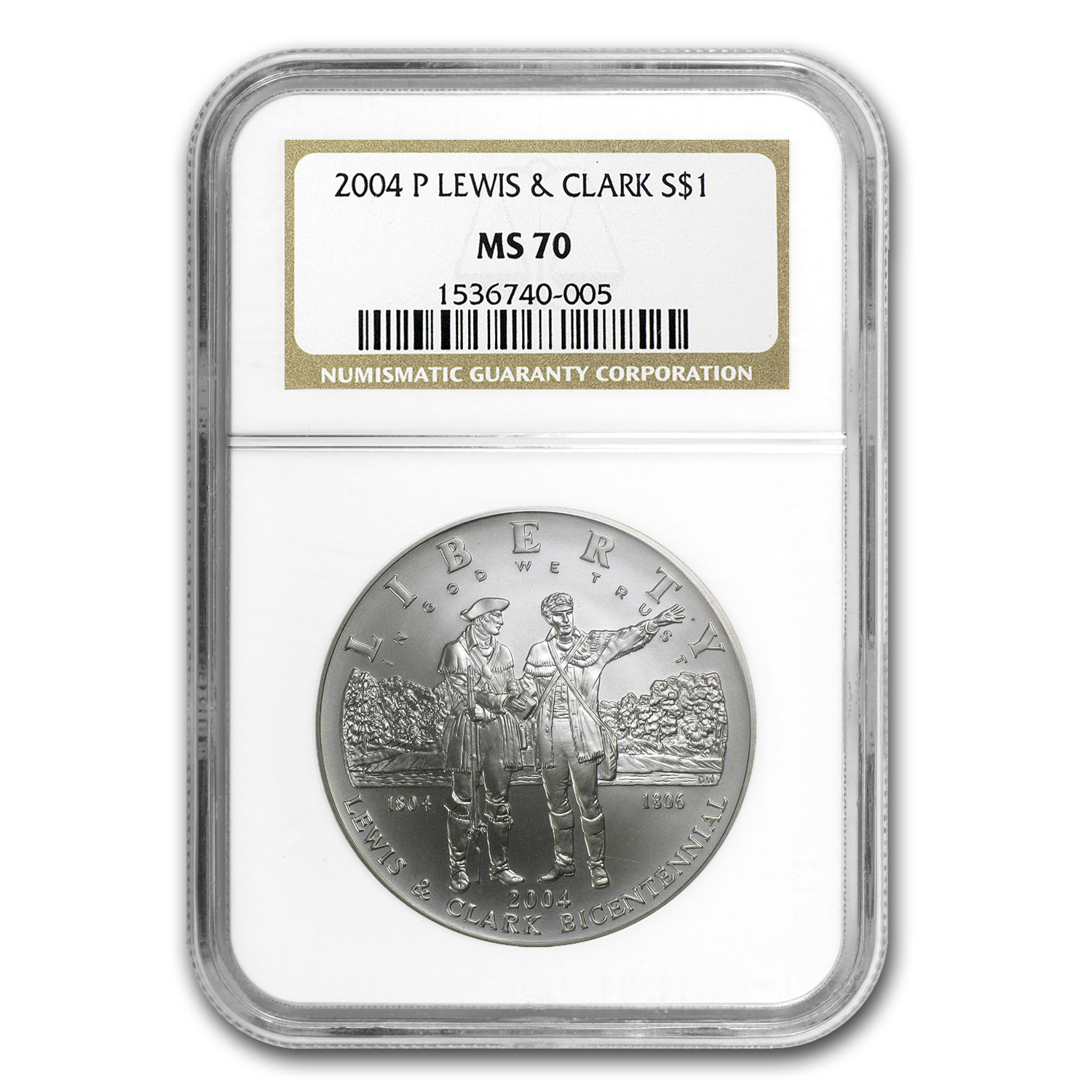 2004-P Lewis&Clark Bicentennial $1 Silver Commemorative MS-70 NGC