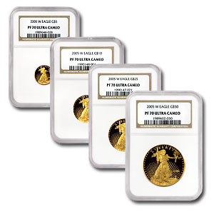 2005-W 4-Coin Proof Gold American Eagle Set PF-70 NGC