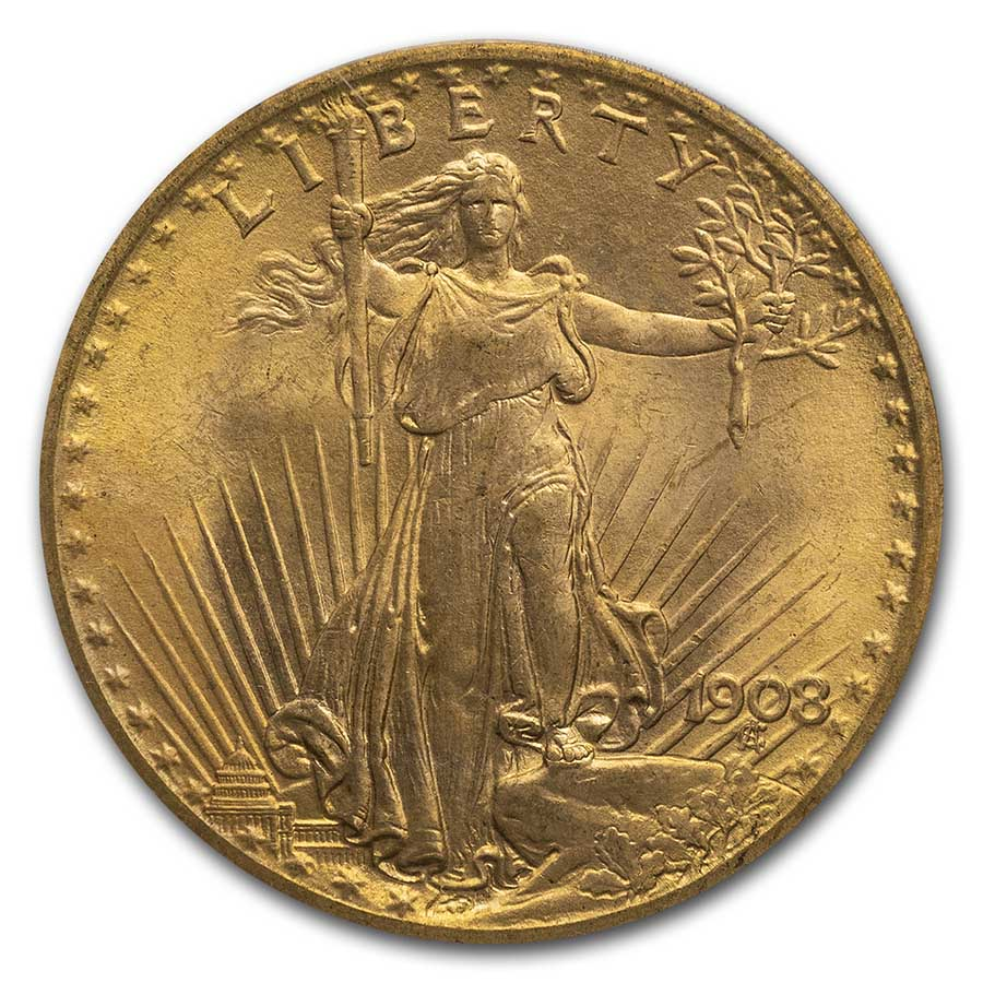 1908 $20 St. Gaudens Gold No Motto MS-66 PCGS (Wells Fargo)