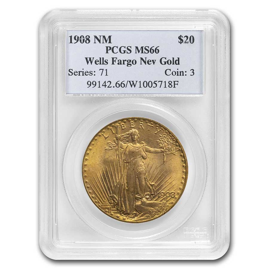 1908 $20 St. Gaudens Gold - No Motto - MS-66 PCGS (Wells Fargo)