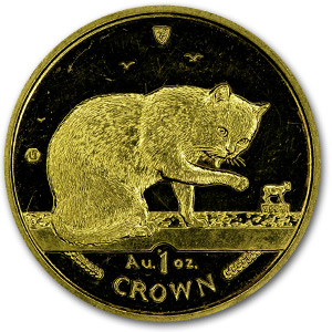 Isle of Man 1 oz Gold Crown Cats (Abrasions)
