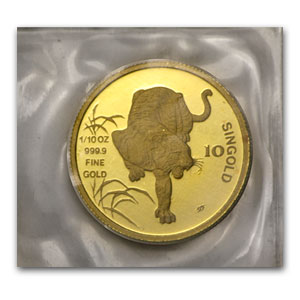 Singapore 1986 - Tiger (10 Singold) 1/10 oz Gold Coin (Proof)