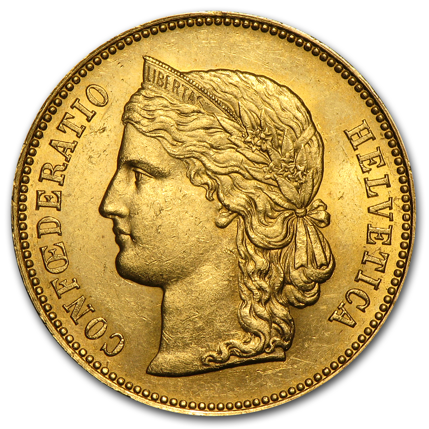 Switzerland 1890-B Gold 20 Francs (Almost Unc)