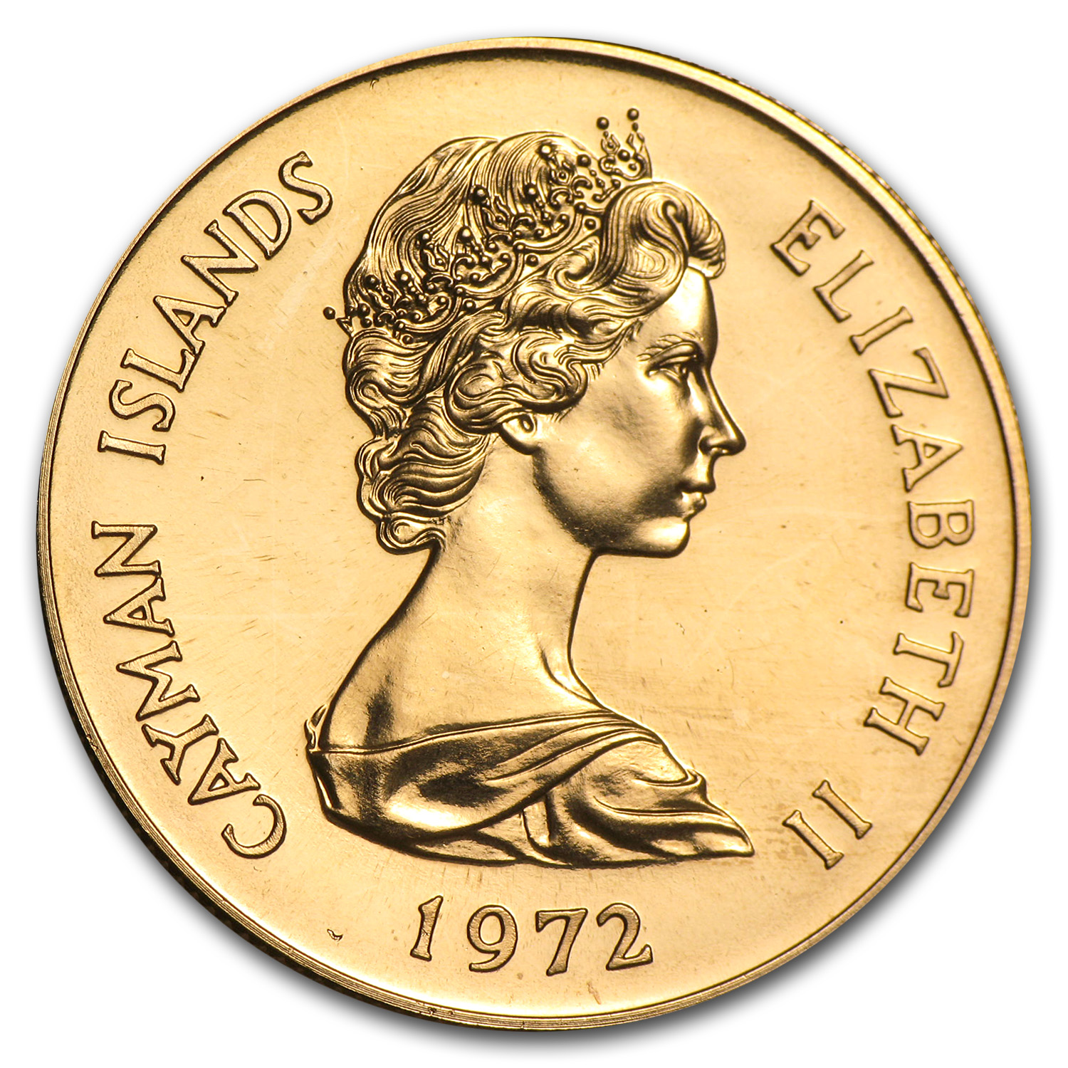 1972 Cayman Islands Gold $25 BU (25th Anniversary)