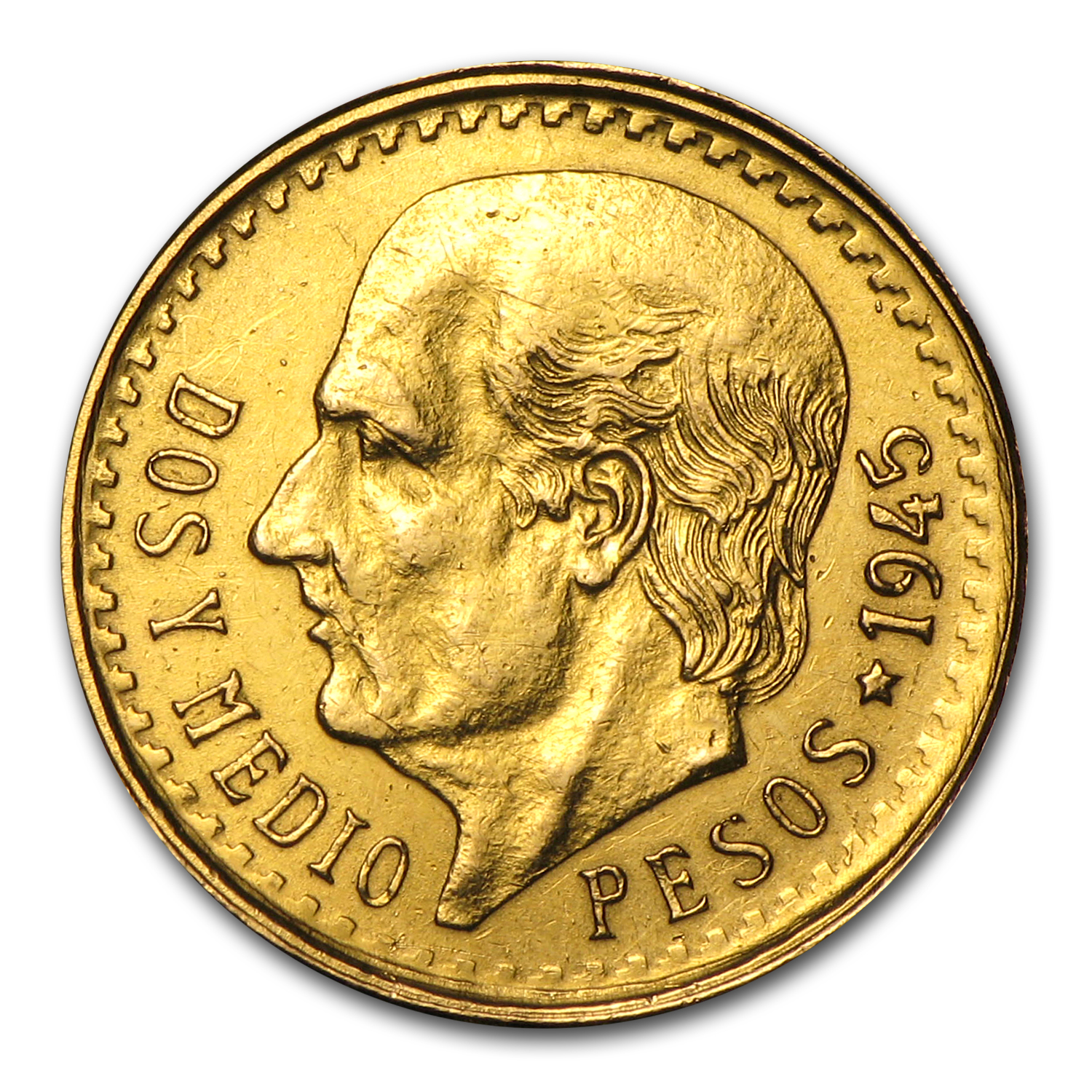 Mexican Gold 2 1/2 Pesos (Damaged)