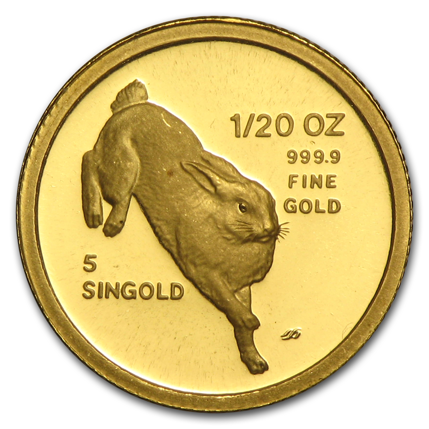 Singapore 1987 - Rabbit (5-Singold) Gold Coin (Proof)