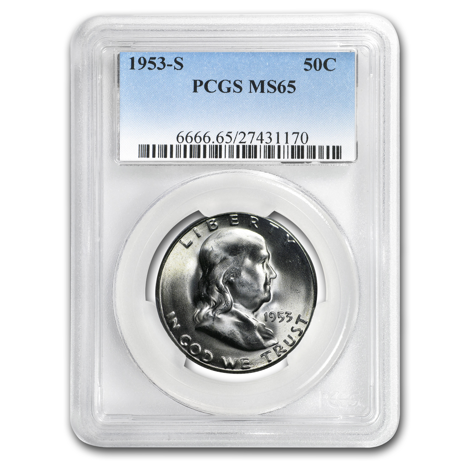 1953-S Franklin Half Dollar MS-65 PCGS