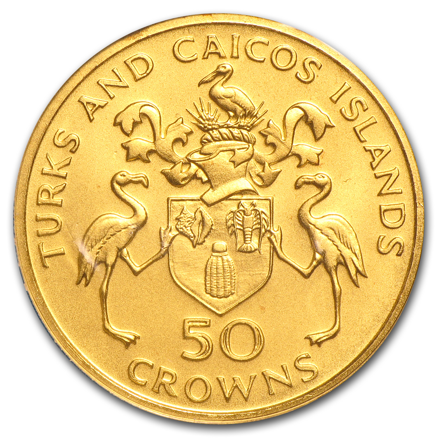 Turks & Caicos 1974 50 Crowns Gold Proof/Unc AGW= .1447