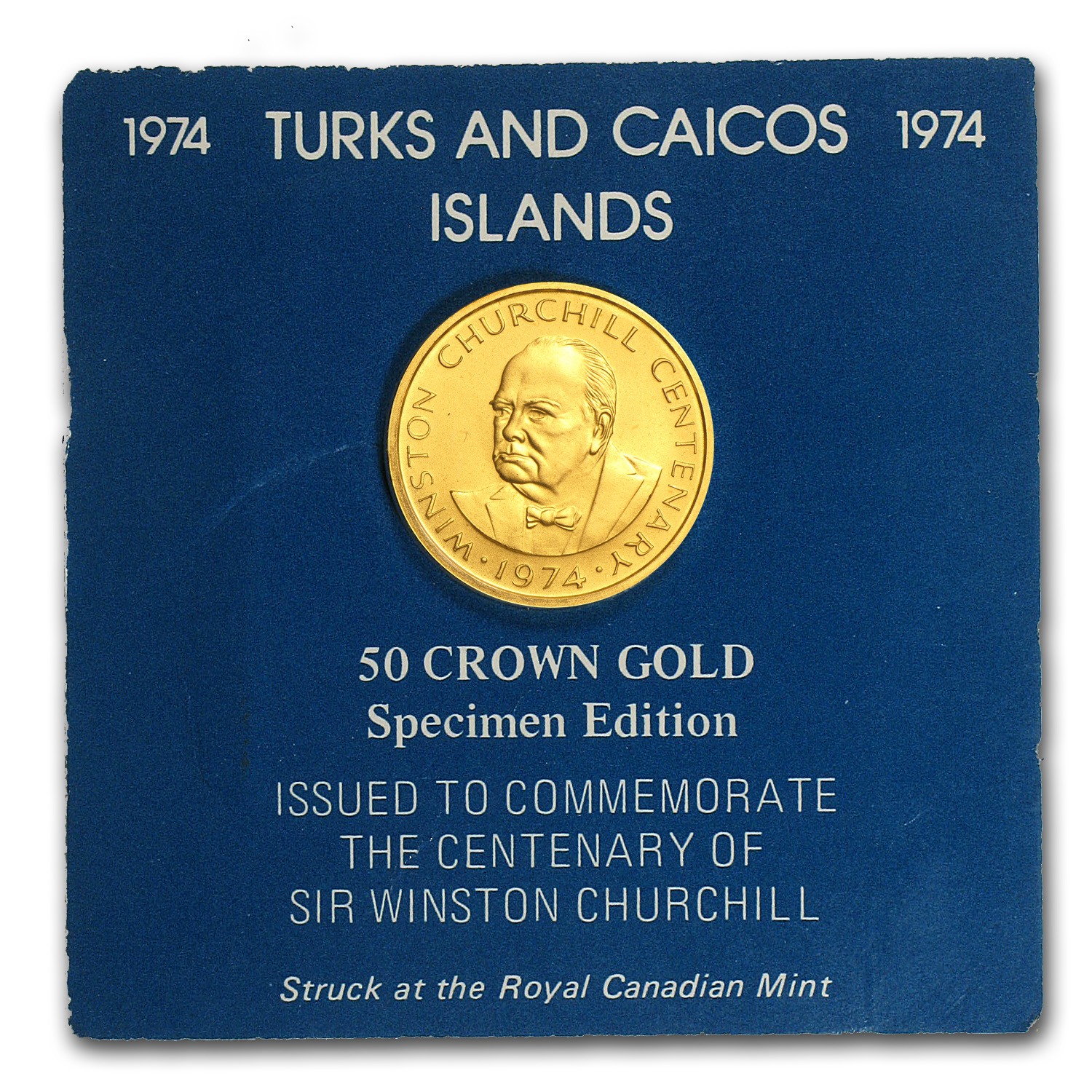 1974 Turks & Caicos Gold 50 Crowns BU/Proof