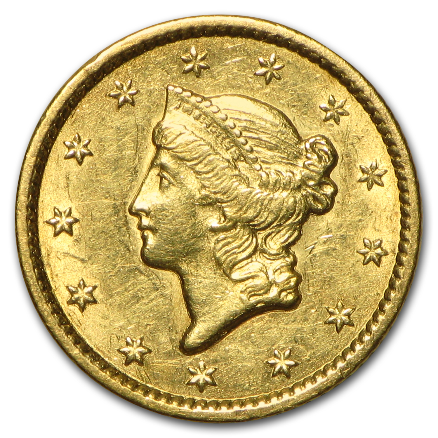 1849 $1 Liberty Head Gold AU