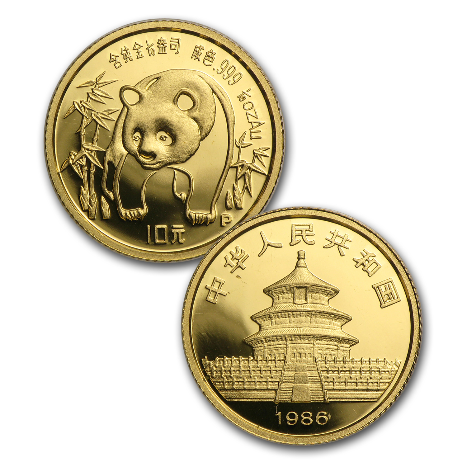 1986 China 5-Coin Gold Panda Proof Set (w/Box and COA)
