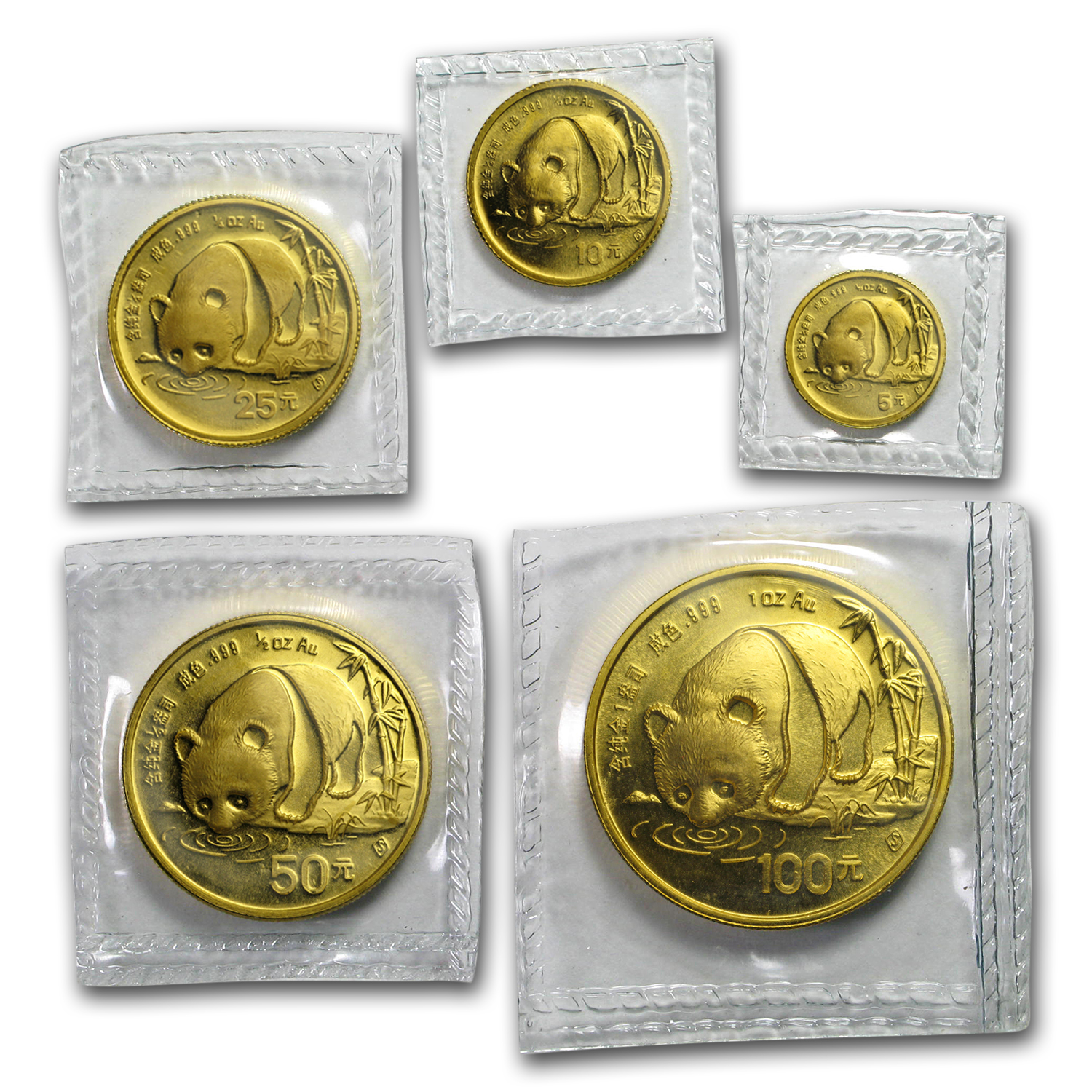 1987-S China 5-Coin Gold Panda Set BU (Sealed)