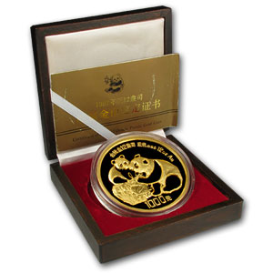 1987 (12 oz Proof) Gold Chinese Panda - (W/Box&Coa)