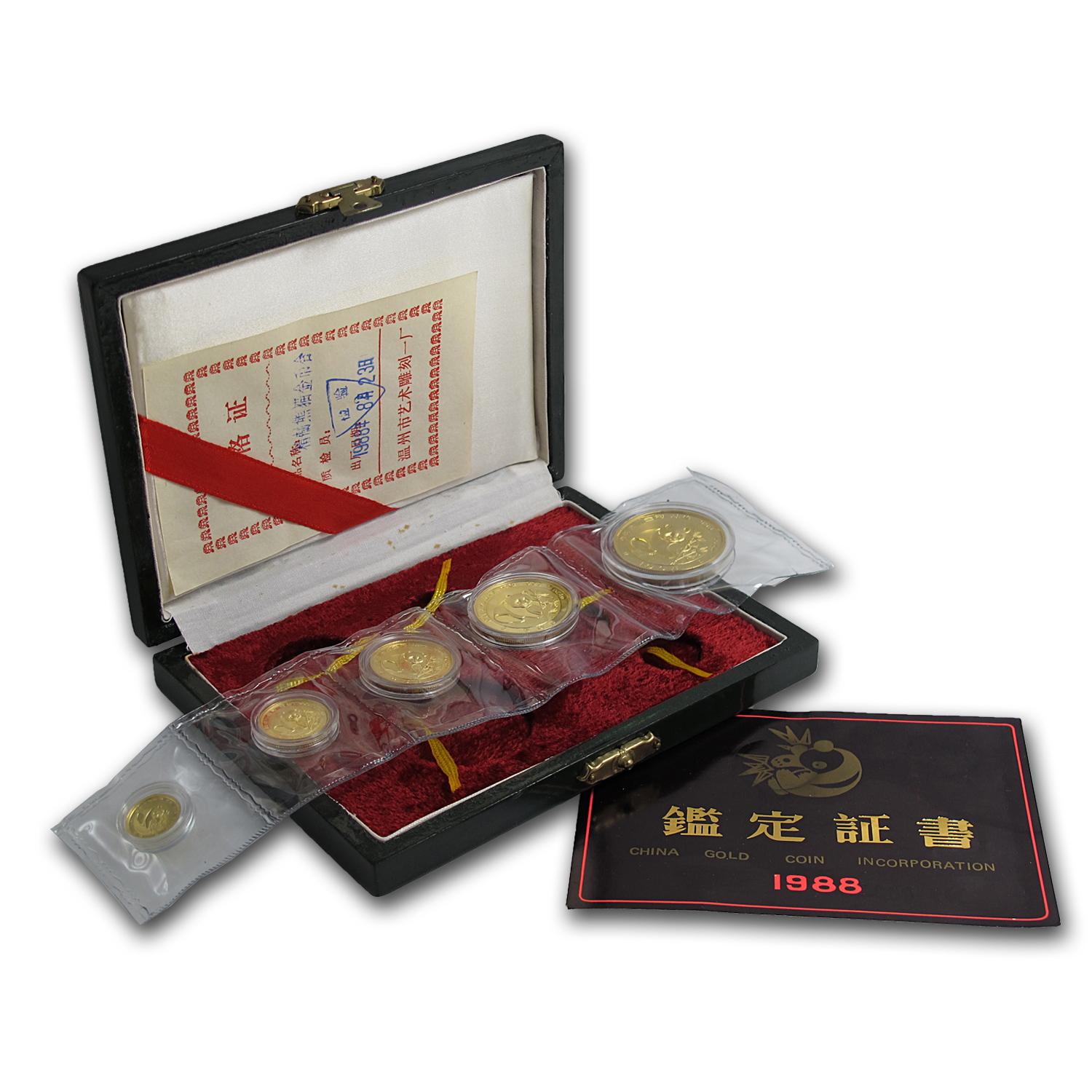 1988 China 5-Coin Gold Panda Proof Set (In Original Box)