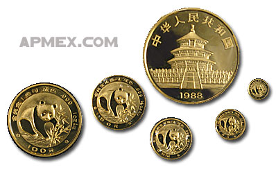 1988 China 5-Coin Gold Panda Set BU (Sealed)