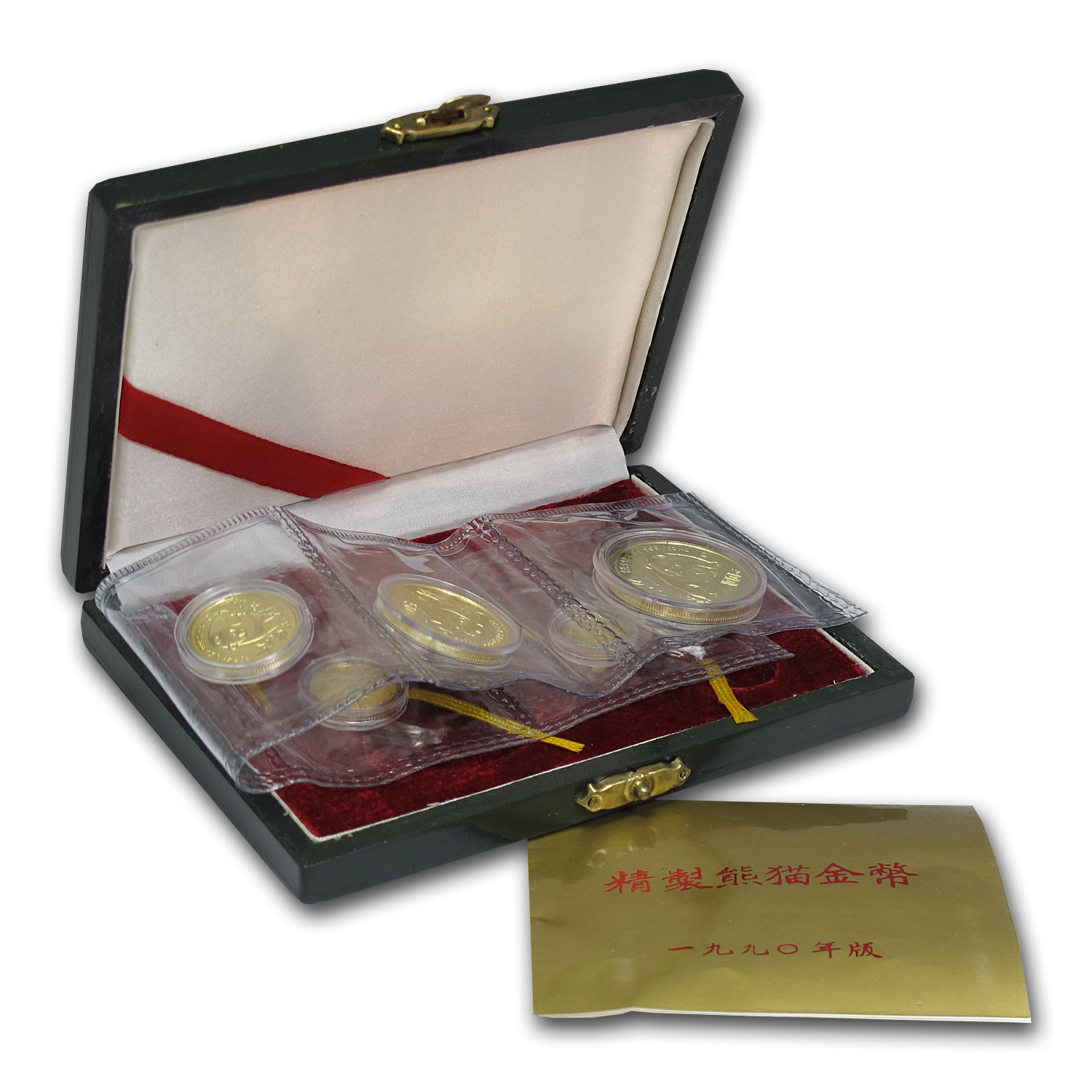 1990 3-Coin Gold Chinese Panda Proof Set (w/Box & COA)
