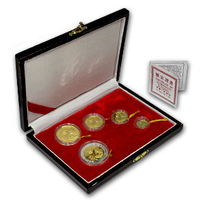 1993 China 5-Coin Gold Panda Proof Set (w/Box and COA)