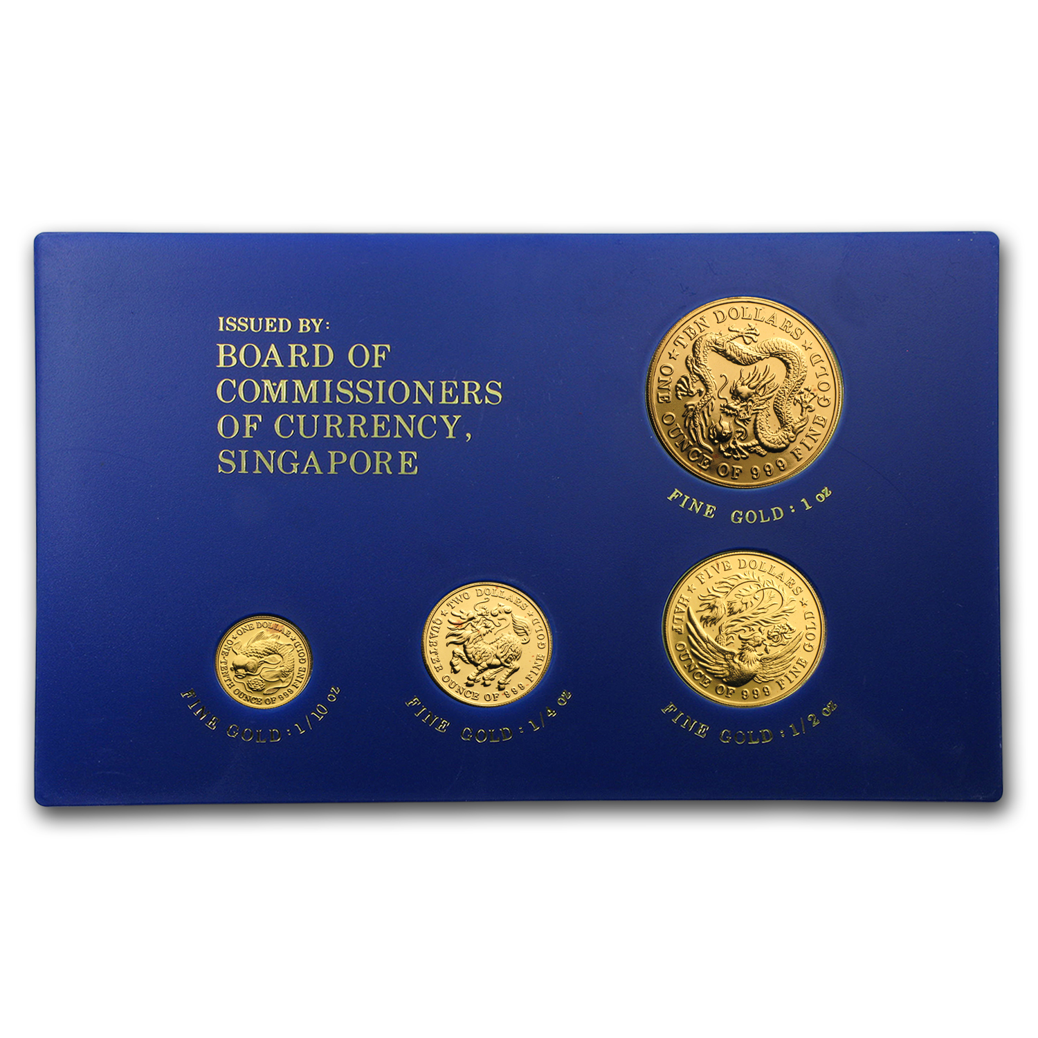 1984 Singapore 4-Coin Gold Dragon Set BU