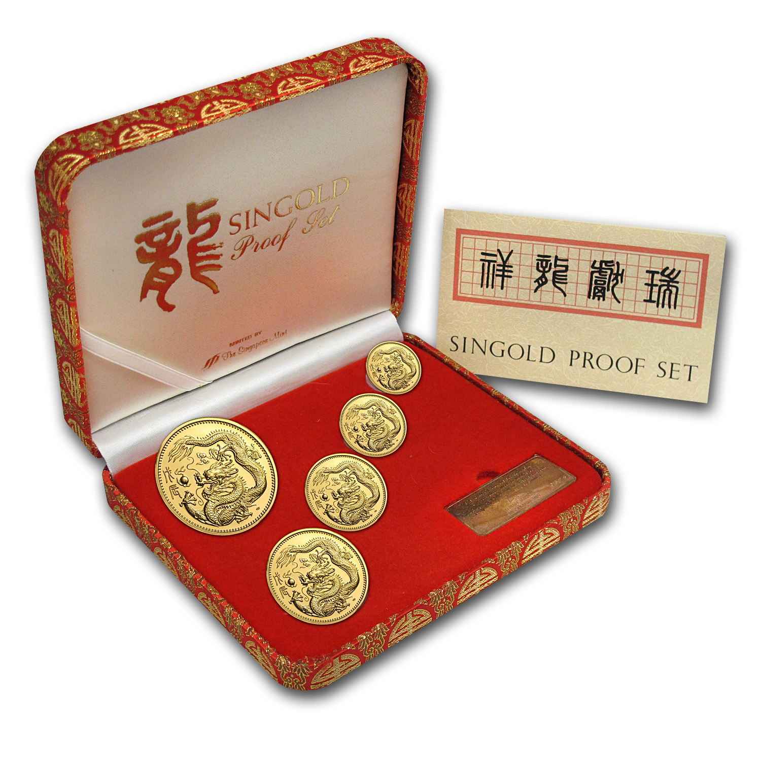 1988 Singapore 5-Coin Gold Singold Dragon Proof Set