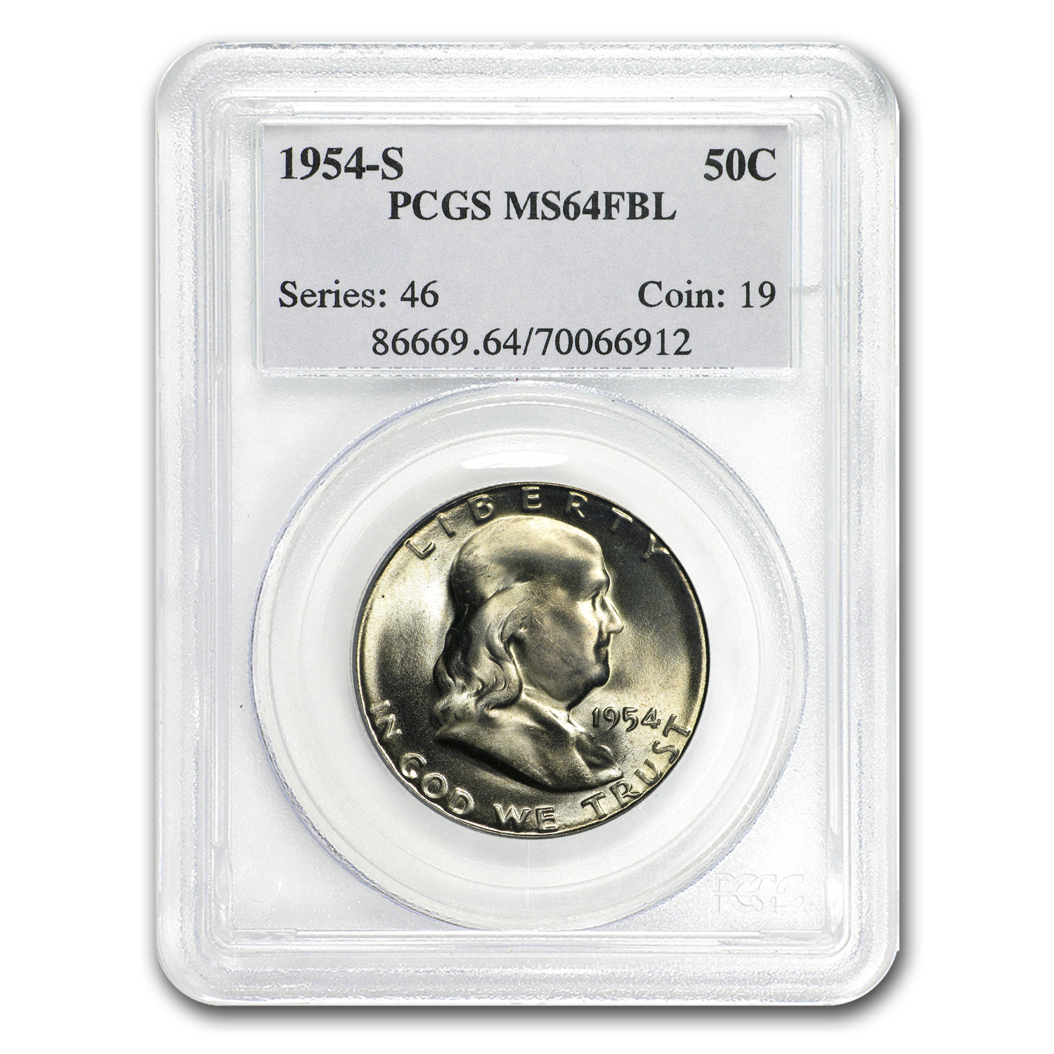 1954-S Franklin Half Dollar MS-64 PCGS (FBL)