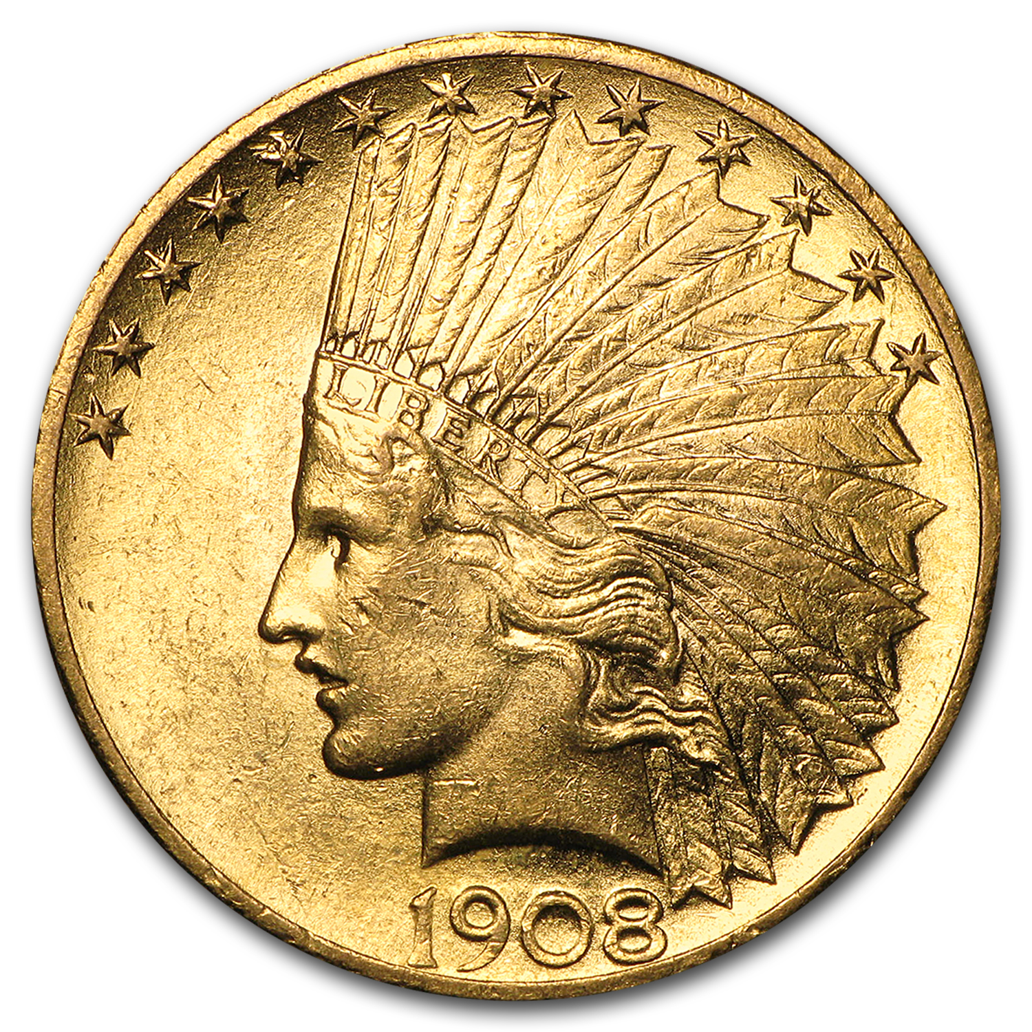 1908 $10 Indian Gold Eagle w/Motto AU