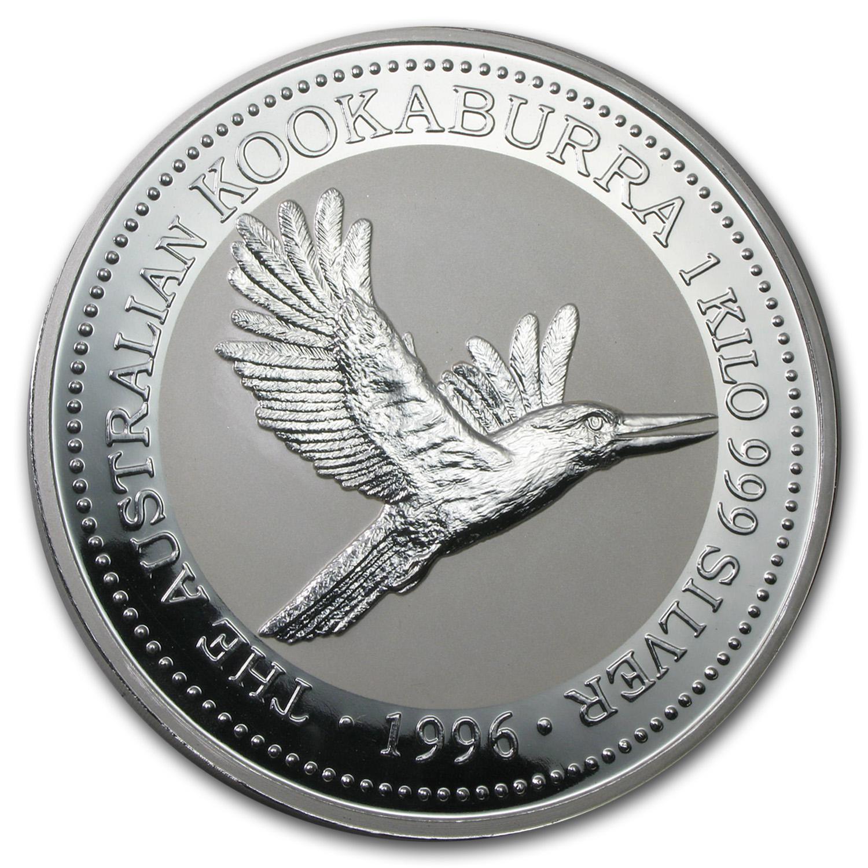 Kilo Silvers: 1996 Australia 1 Kilo Silver Kookaburra BU
