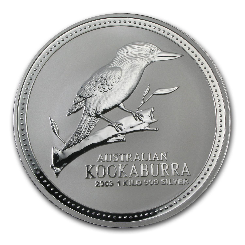2003 Australia 1 Kilo Silver Kookaburra Bu Silver Coins