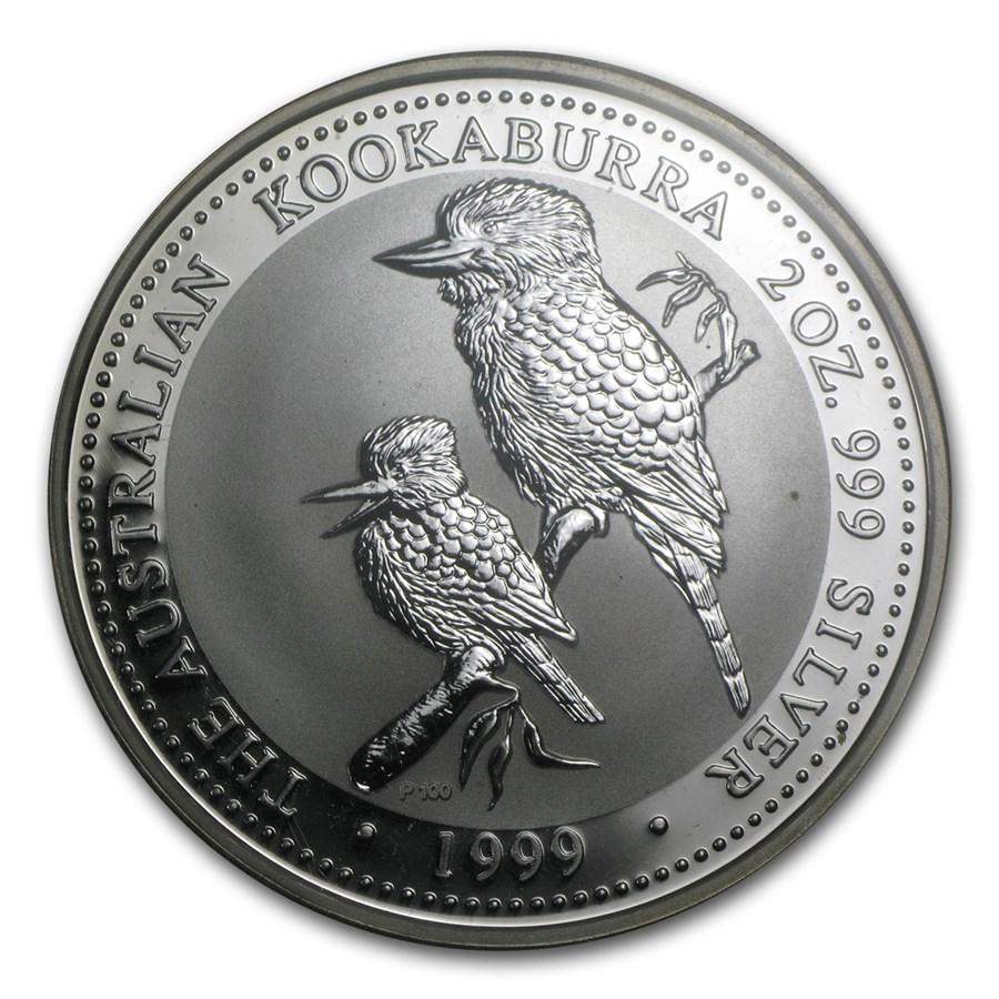 1999 Australia 2 Oz Silver Kookaburra Bu Perth Mint