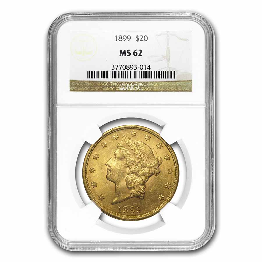 1899 $20 Liberty Gold Double Eagle MS-62 NGC