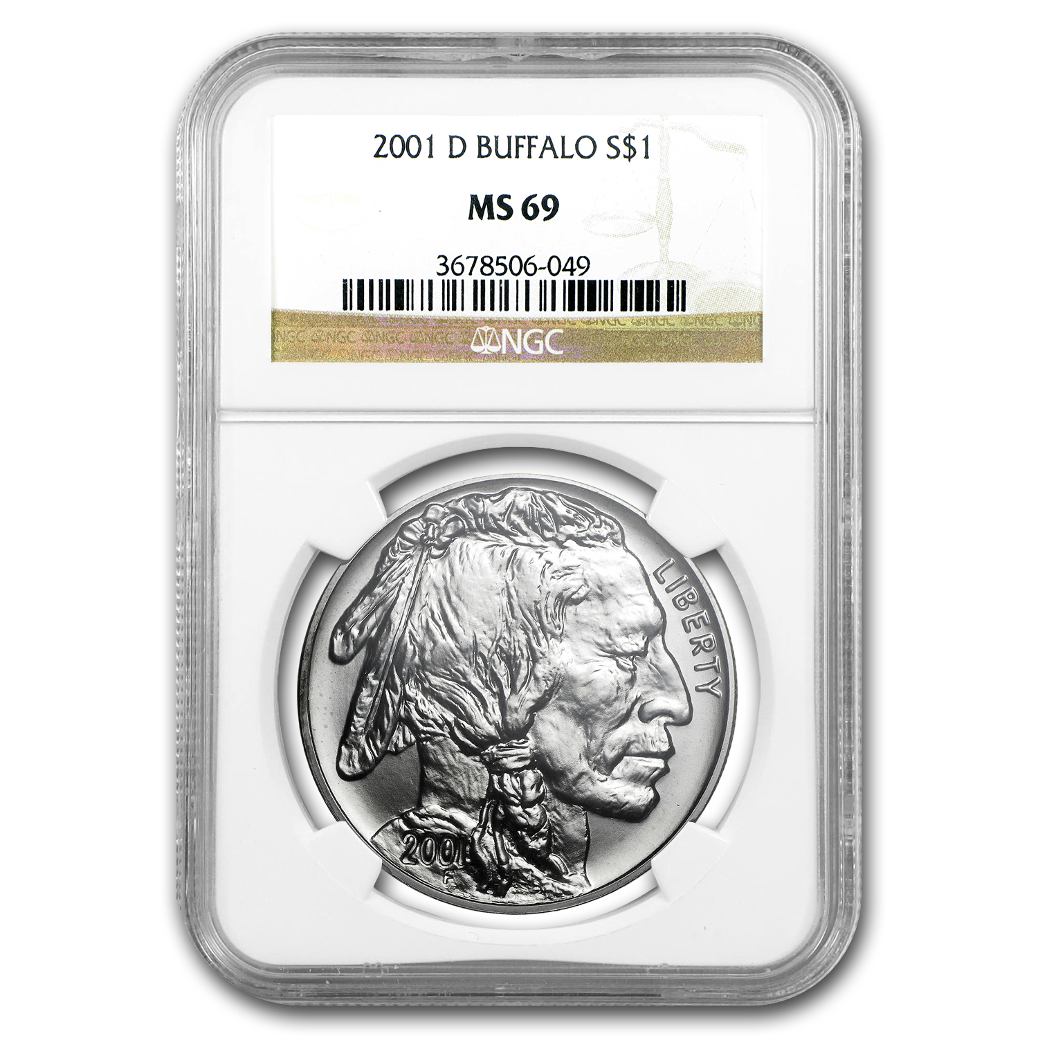 2001-D Buffalo $1 Silver Commem MS-69 NGC