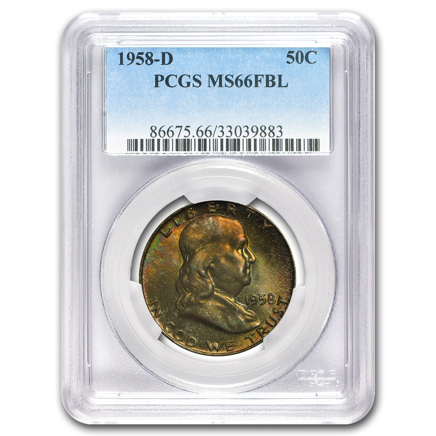 1958-D Franklin Half Dollar MS-66 PCGS (FBL, Toned)