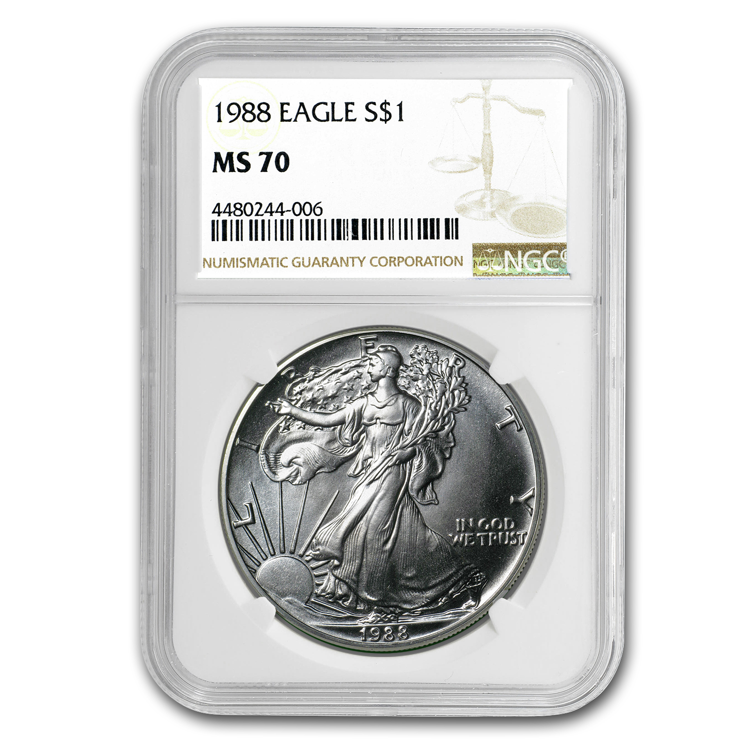 1988 Silver American Eagle MS-70 NGC (Registry Set)