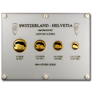 Switzerland 1988 (4 Piece) Proof Gold set